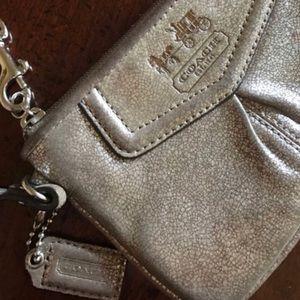 COACH Rare Metallic Gold/Silver Leather Wristlet